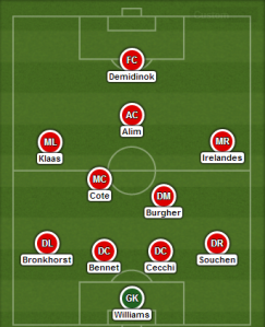 Cote and Burgher were used in an unusual variant on the double pivot in midfield.