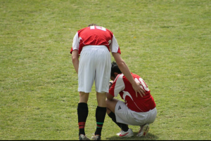 Darius Ashrafi is comforted by Kregg Laundon after the heart-breaking loss.